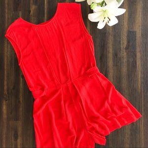 Zara Short Jumpsuit Cut Out in the Back Red Romper